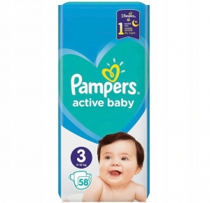 Pieluchy Pampers active baby rozmiar  3 (58 szt) 2021